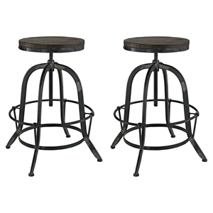Collect Bar Stool - Backless, Wood Top, Black (Set of 2)
