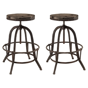 Collect Backless Bar Stool - Brown (Set of 2)