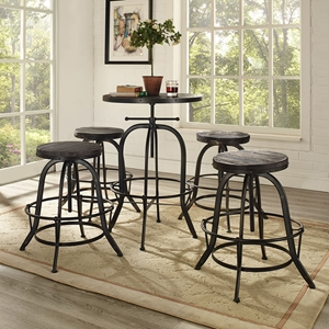 Gather 5 Pieces Dining Set - Backless, Black