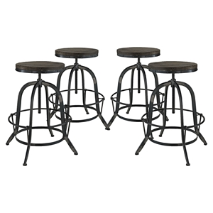 Collect Backless Bar Stool - Metal Base, Black (Set of 4)