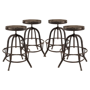 Collect Backless Bar Stool - Metal Base, Brown (Set of 4)