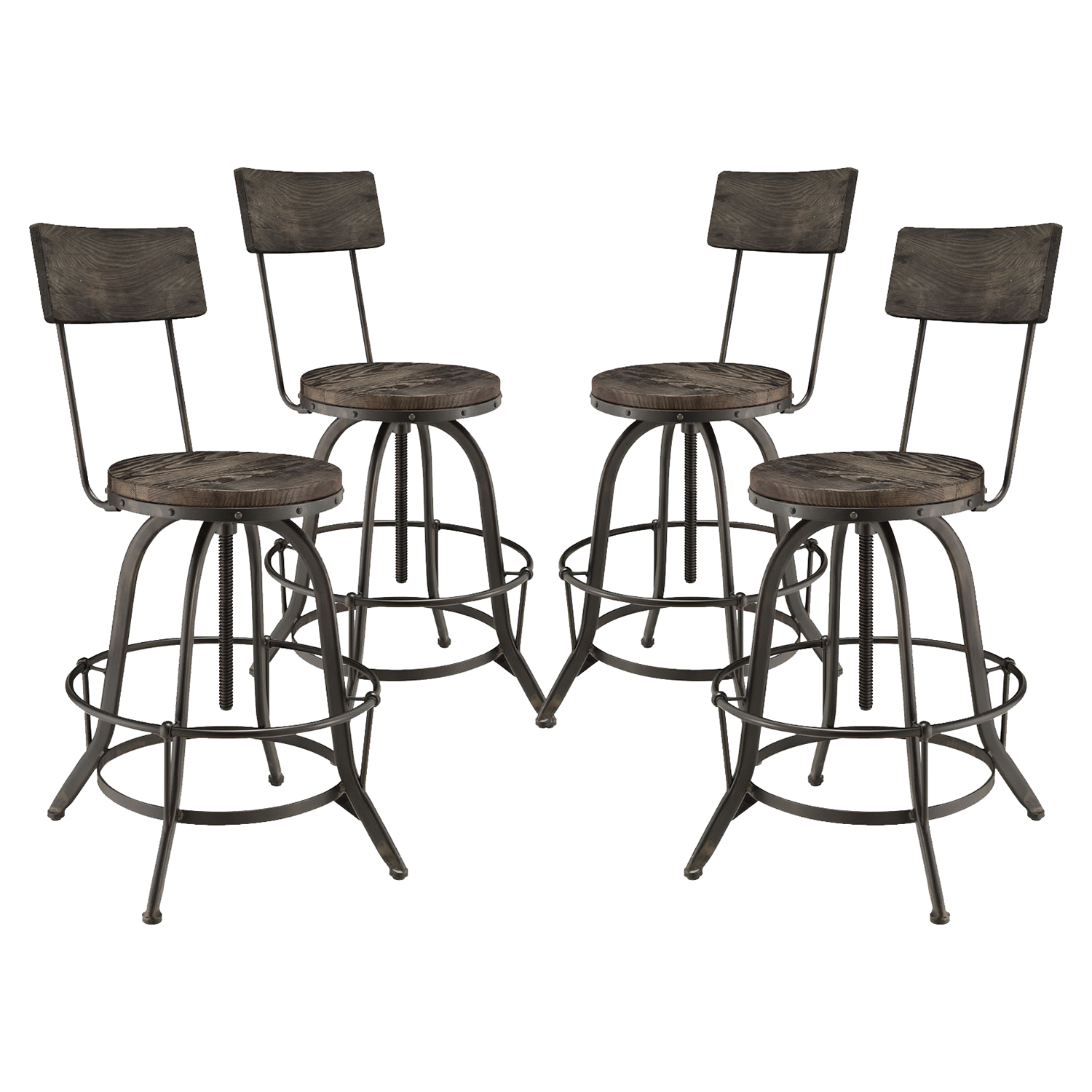 Procure Backrest Bar Stool - Metal Base, Black (Set of 4) - EEI-1609-BLK-SET