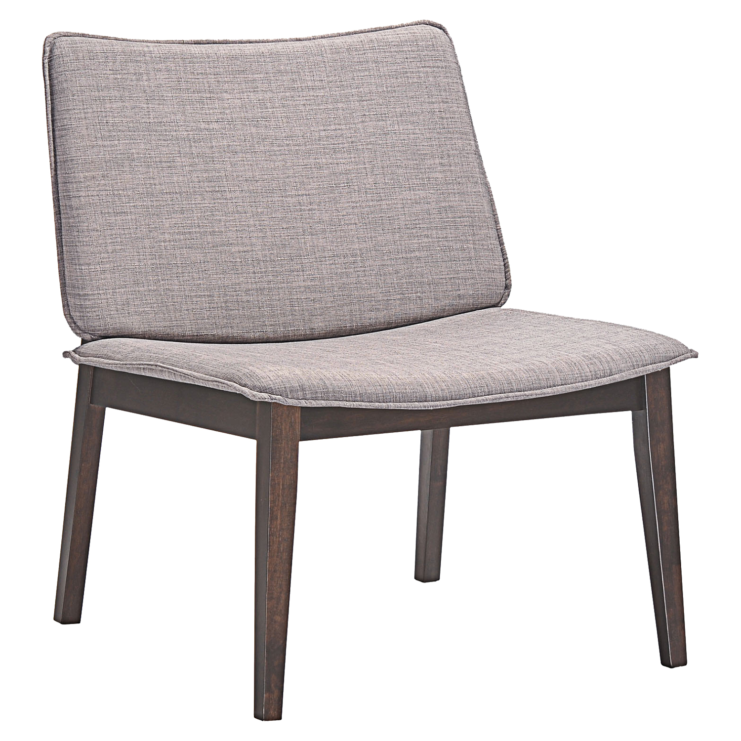 Evade Upholstery Lounge Chair - Walnut, Gray (Set of 2) - EEI-2025-WAL-GRY-SET
