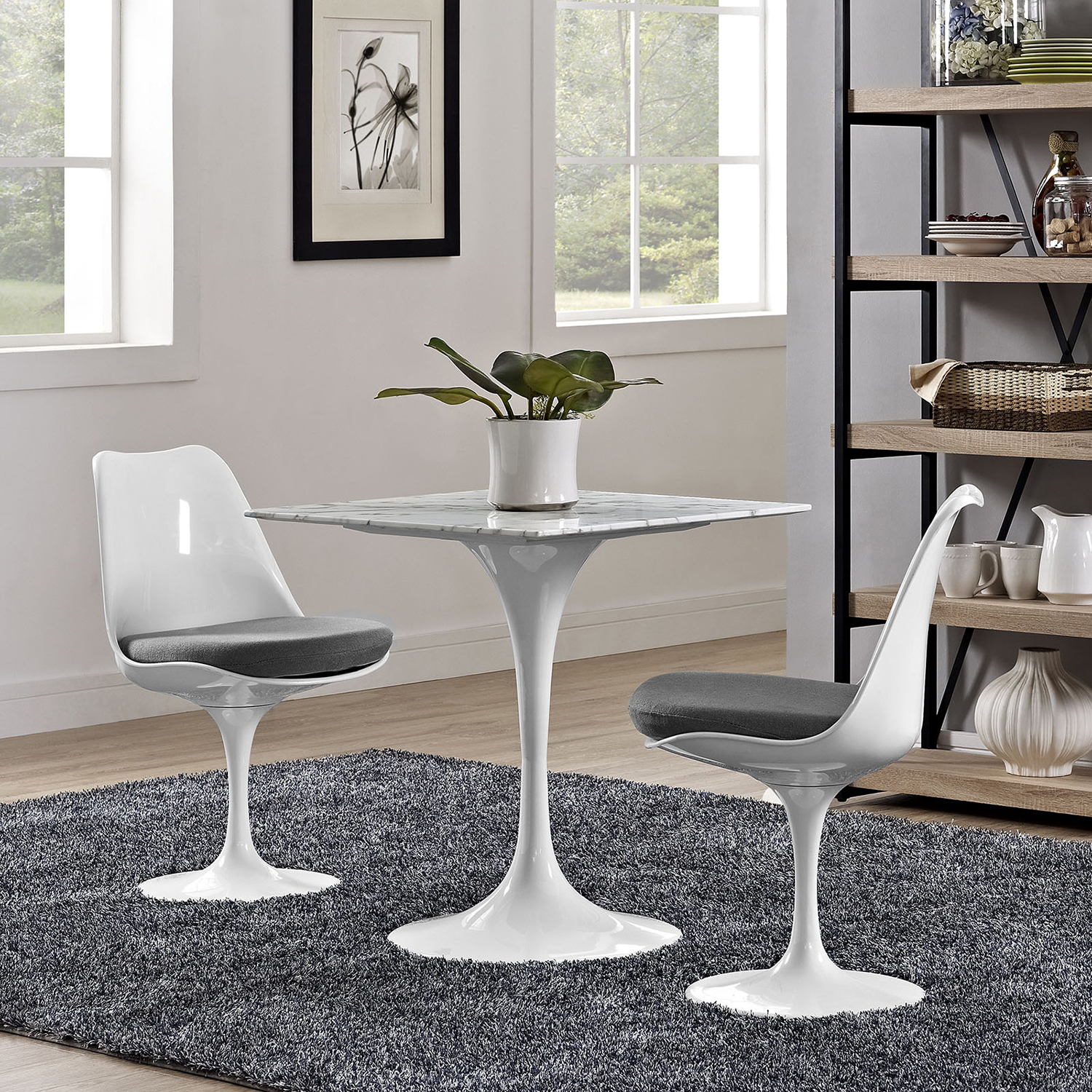 "Lippa 28"" Marble Dining Table - White - EEI-1635-WHI"