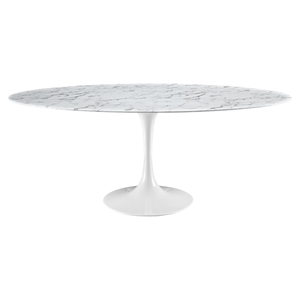 "Lippa 78"" Dining Table - White, Artificial Marble Top"