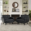 Engage Tufted Leather Armchair - Black (Set of 2) - EEI-1665-BLK-SET