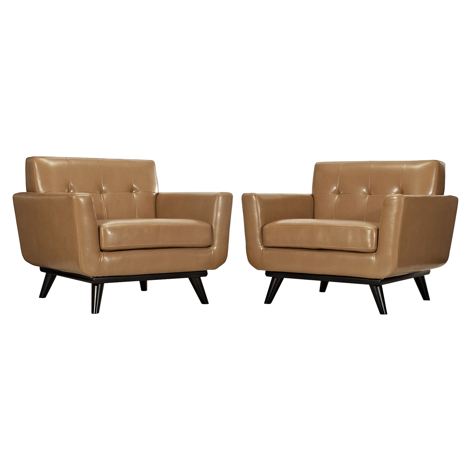 Engage Leather Armchair - Tufted, Tan (Set of 2) - EEI-1665-TAN-SET