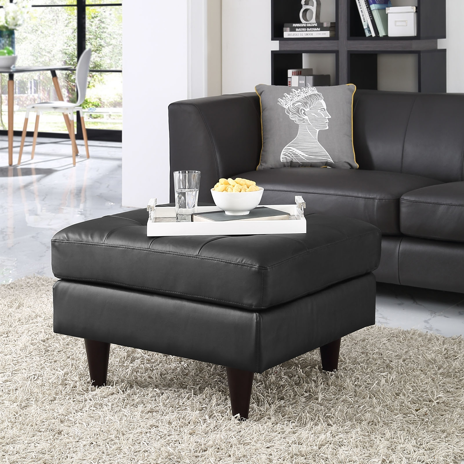 Empress Leather Ottoman - Tufted Bonded, Black - EEI-1668-BLK