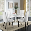 Noblesse Leatherette Dining Chair - Wood Legs, White (Set of 4) - EEI-1678-WHI