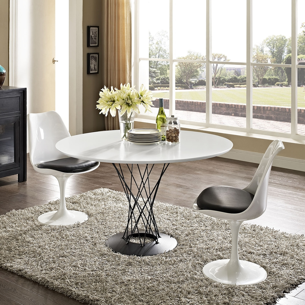 Cyclone Round Dining Table Wood Top White Dcg Stores