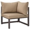 Fortuna 7 Pieces Outdoor Patio Sectional Set - Brown Frame, Mocha Cushion - EEI-1737-BRN-MOC-SET