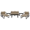 Fortuna 9 Pieces Outdoor Patio Sofa Set - Brown Frame, Mocha Cushion - EEI-1719-BRN-MOC-SET