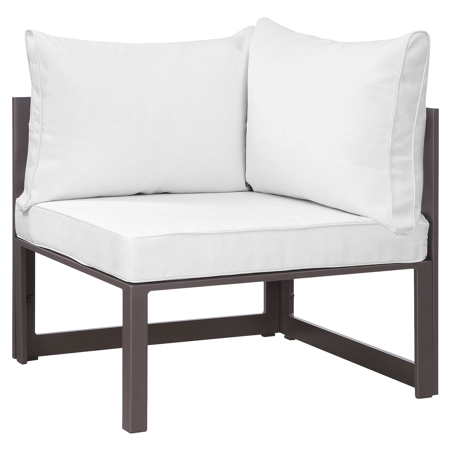 Fortuna 9 Pieces Patio Sectional Sofa Set - Brown Frame, White Cushion - EEI-1734-BRN-WHI-SET