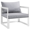 Fortuna 3 Pieces Outdoor Patio Sofa Set - White Frame, Gray Cushion - EEI-1722-WHI-GRY-SET