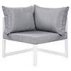 Fortuna 7 Pieces Outdoor Patio Sofa Set - White Frame, Gray Cushion - EEI-1729-WHI-GRY-SET