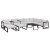 Fortuna 10 Pieces Patio Sectional Sofa Set - Brown Frame, White Cushion - EEI-1720-BRN-WHI-SET