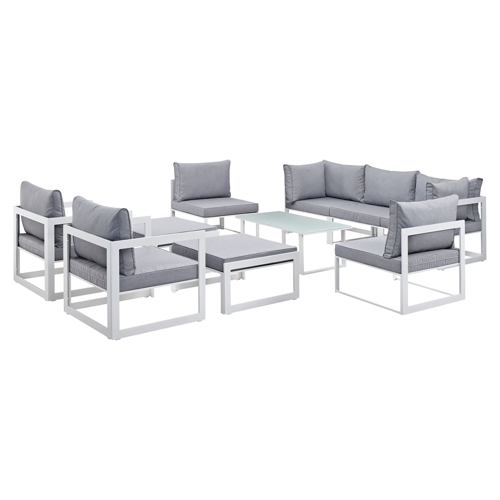 Sectional Gray Sofa Set: Fortuna 10 Pieces Patio Sectional Sofa Set