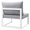 Fortuna 7 Pieces Patio Sectional Sofa Set - White Frame, Gray Cushion - EEI-1733-WHI-GRY-SET
