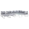 Fortuna 10 Pieces Patio Sectional Sofa Set - White Frame, Gray Cushion - EEI-1720-WHI-GRY-SET