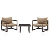 Fortuna 3 Pieces Outdoor Patio Sofa Set - Brown Frame, Mocha Cushion - EEI-1722-BRN-MOC-SET