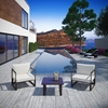 Fortuna 3 Pieces Outdoor Patio Sofa Set - Brown Frame, White Cushion - EEI-1722-BRN-WHI-SET