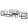 Fortuna 6 Pieces Patio Sofa Set - Brown Frame, White Cushion - EEI-1723-BRN-WHI-SET