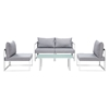 Fortuna 5 Pieces Outdoor Patio Sofa Set - White Frame, Gray Cushion - EEI-1724-WHI-GRY-SET
