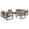 Fortuna 8 Pieces Outdoor Patio Set - Mocha Cushion, Brown Frame - EEI-1725-BRN-MOC-SET