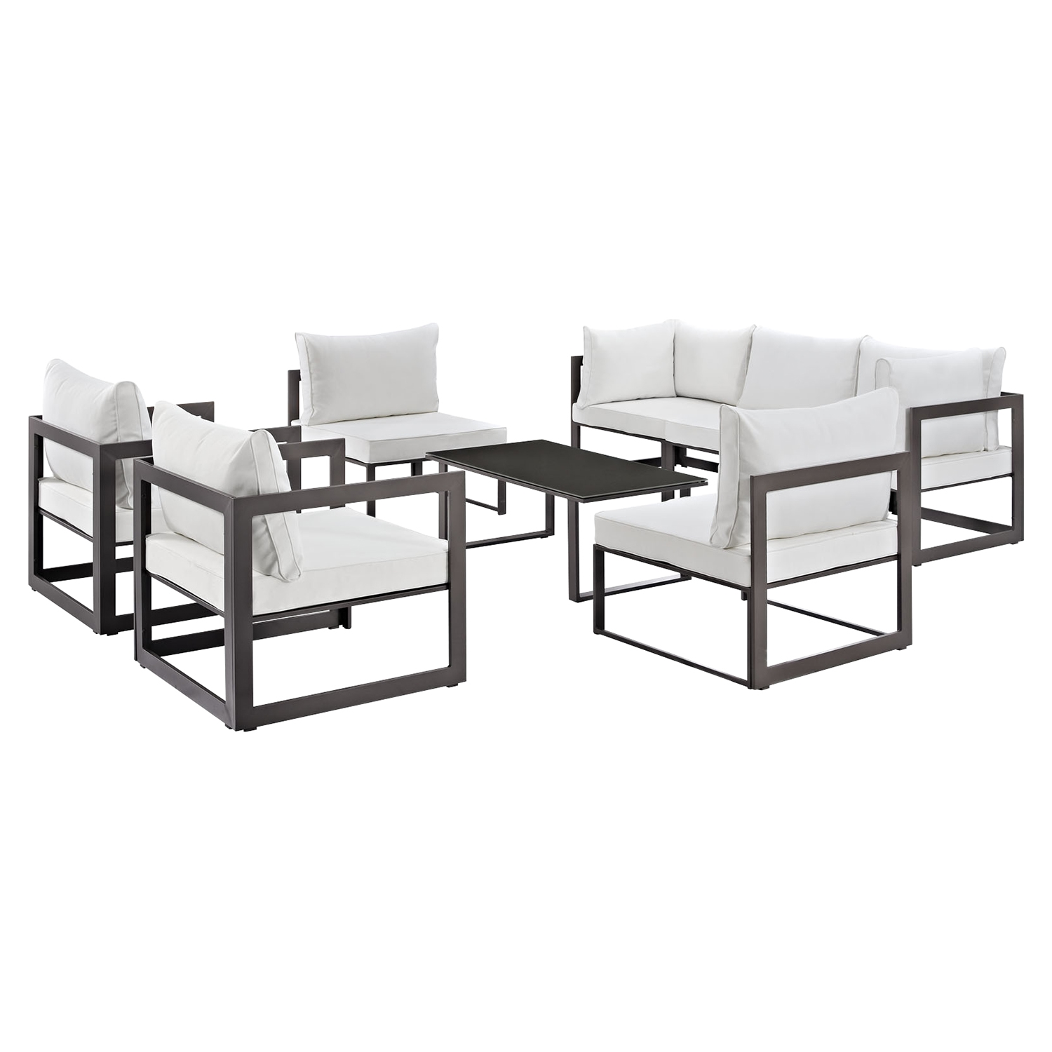 Fortuna 8 Pieces Patio Sofa Set - White Cushion, Brown Frame - EEI-1725-BRN-WHI-SET