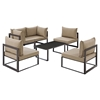Fortuna 6 Pieces Patio Sofa Set - Mocha Cushion, Brown Frame - EEI-1726-BRN-MOC-SET