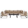 Fortuna 7 Pieces Patio Sectional Sofa Set - Brown Frame, Mocha Cushion - EEI-1729-BRN-MOC-SET