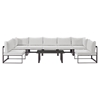 Fortuna 8 Pieces Patio Sectional Sofa Set - Brown Frame, White Cushion - EEI-1730-BRN-WHI-SET