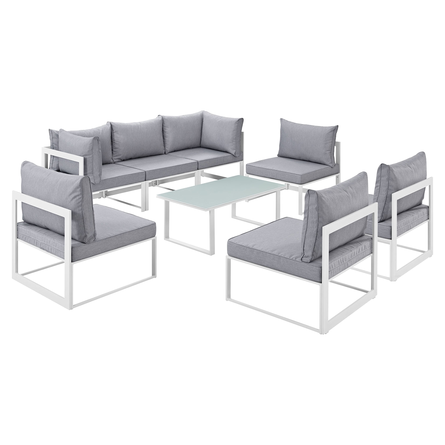 Fortuna 8 Pieces Armless Patio Sectional Sofa - White Frame, Gray Cushion - EEI-1730-WHI-GRY-SET