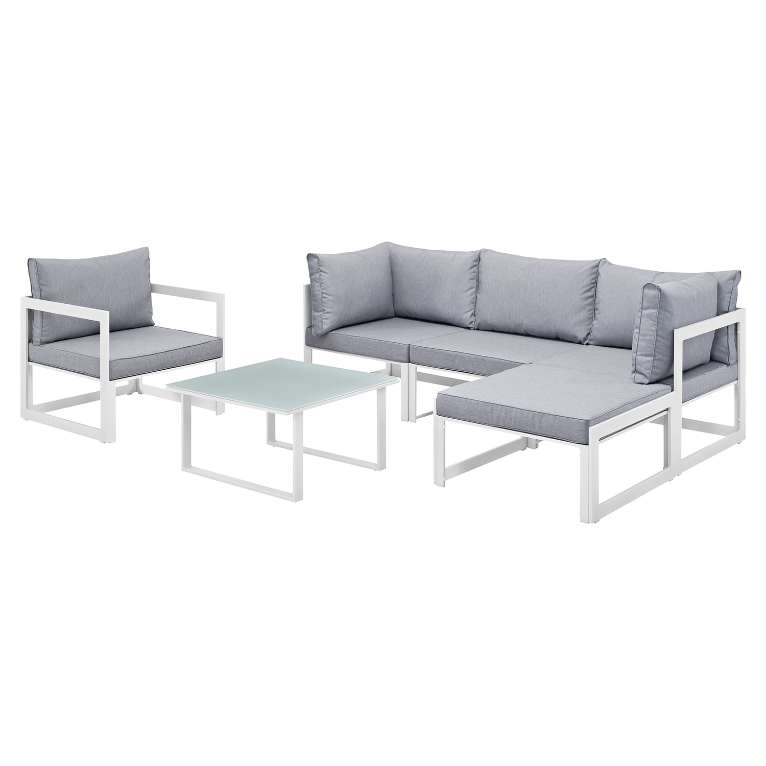 Fortuna 6 Pieces Outdoor Patio Sofa Set - White Frame, Gray Cushion - EEI-1731-WHI-GRY-SET