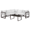 Fortuna 6 Pieces Outdoor Patio Sectional Set - Brown Frame, White Cushion - EEI-1732-BRN-WHI-SET