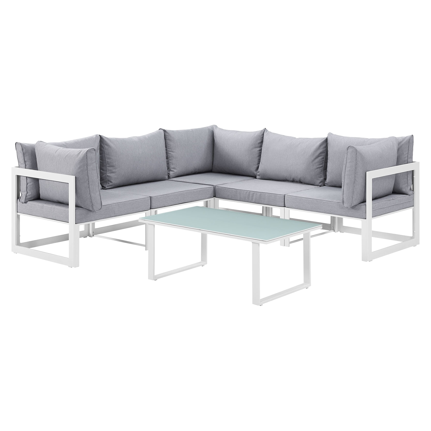 Fortuna 6 Pieces Outdoor Patio Sectional Set - White Frame, Gray Cushion - EEI-1732-WHI-GRY-SET