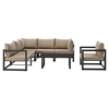 Fortuna 7 Pieces Outdoor Patio Sofa Set - Brown Frame, Mocha Cushion - EEI-1733-BRN-MOC-SET