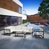 Fortuna 7 Pieces Patio Sectional Sofa Set - Brown Frame, White Cushion - EEI-1733-BRN-WHI-SET