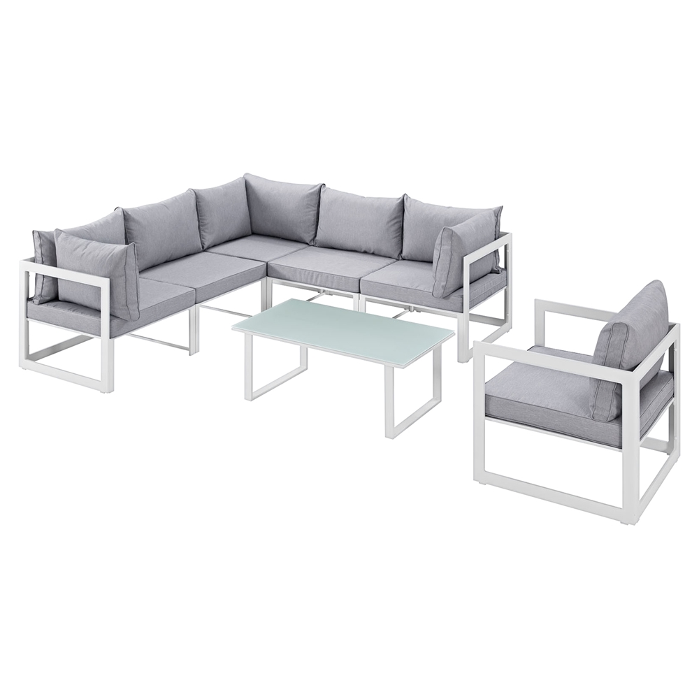 Sectional Gray Sofa Set: Fortuna 7 Pieces Patio Sectional Sofa Set