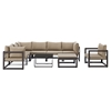 Fortuna 9 Pieces Outdoor Patio Set - Brown Frame, Mocha Cushion - EEI-1734-BRN-MOC-SET