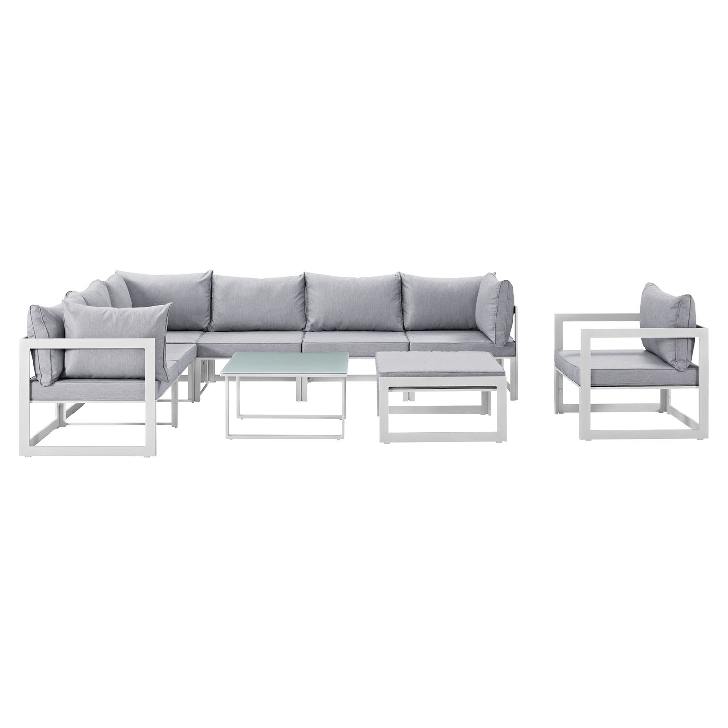 Fortuna 9 Pieces Patio Sectional Sofa Set - White Frame, Gray Cushion - EEI-1734-WHI-GRY-SET