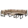 Fortuna 8 Pieces Outdoor Patio Sectional Set - Brown Frame, Mocha Cushion - EEI-1735-BRN-MOC-SET