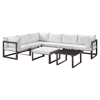 Fortuna 8 Pieces Outdoor Patio Sectional Set - Brown Frame, White Cushion - EEI-1735-BRN-WHI-SET