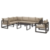 Fortuna 8 Pieces Outdoor Patio Set - Brown Frame, Mocha Cushion - EEI-1736-BRN-MOC-SET