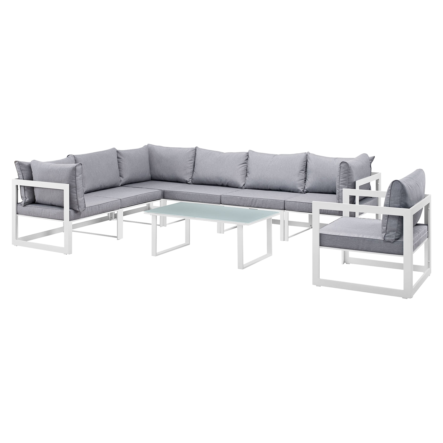 Fortuna 8 Pieces Patio Sectional Sofa Set - Gray Cushion, White Frame - EEI-1736-WHI-GRY-SET