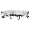 Fortuna 7 Pieces Outdoor Patio Sectional Set - Brown Frame, White Cushion - EEI-1737-BRN-WHI-SET