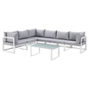 Fortuna 7 Pieces Outdoor Patio Sectional Set - White Frame, Gray Cushion - EEI-1737-WHI-GRY-SET