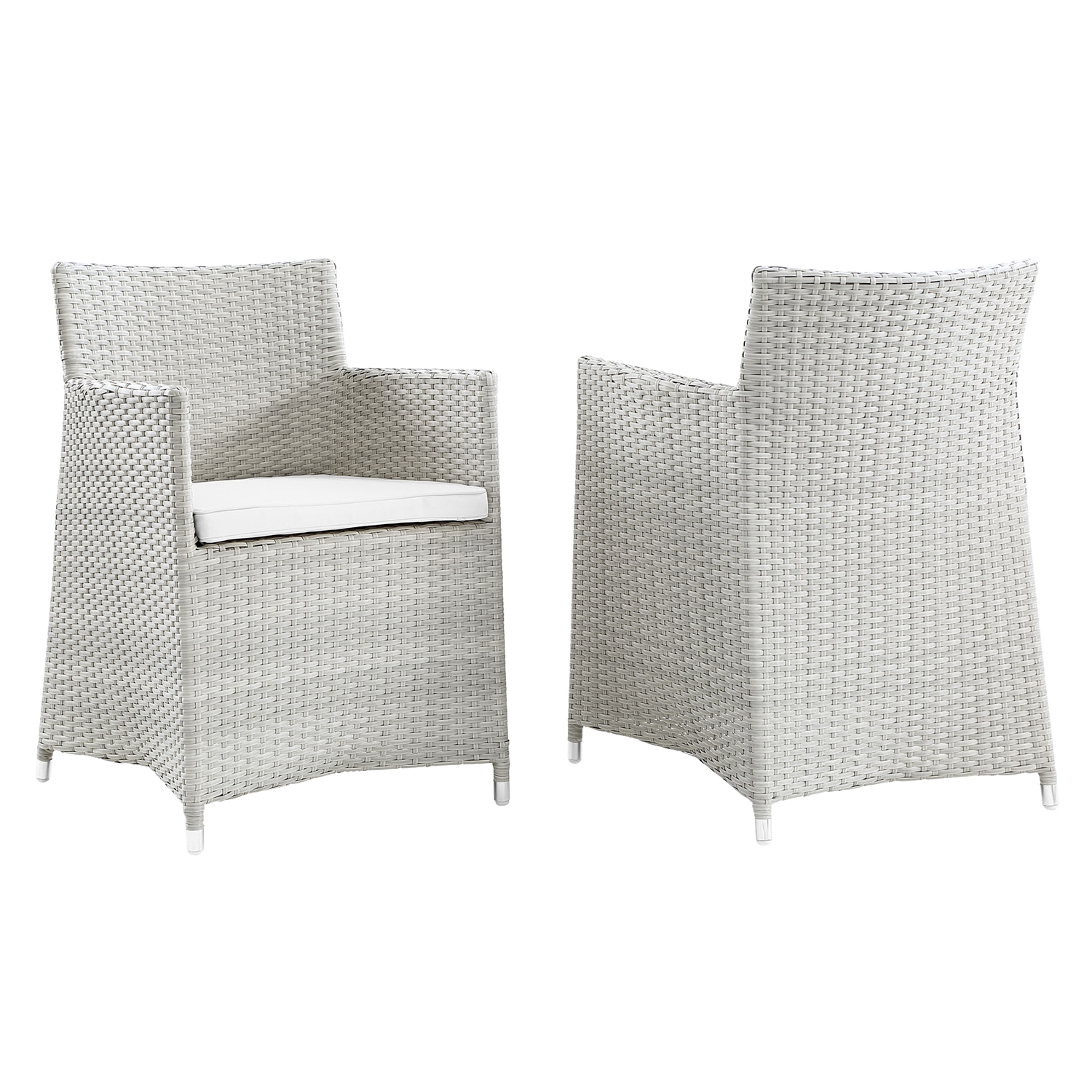 Junction Outdoor Patio Wicker Armchair - Gray Frame, White Cushion (Set of 2) - EEI-1738-GRY-WHI-SET