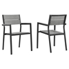 Maine Outdoor Patio Dining Armchair - Brown, Gray (Set of 2) - EEI-1739-BRN-GRY-SET