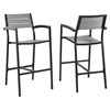 Maine Outdoor Patio Bar Stool - Armrest, Brown, Gray (Set of 2) - EEI-1740-BRN-GRY-SET